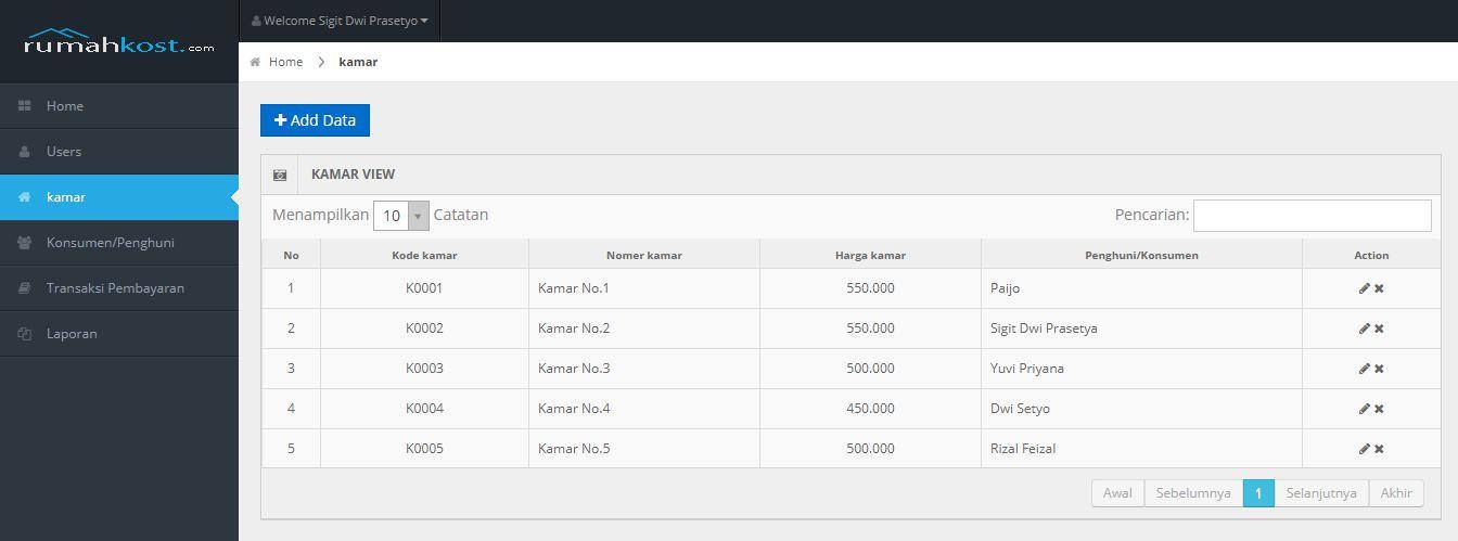 Aplikasi Manajemen Pembayaran Rumah Kost OOP PHP