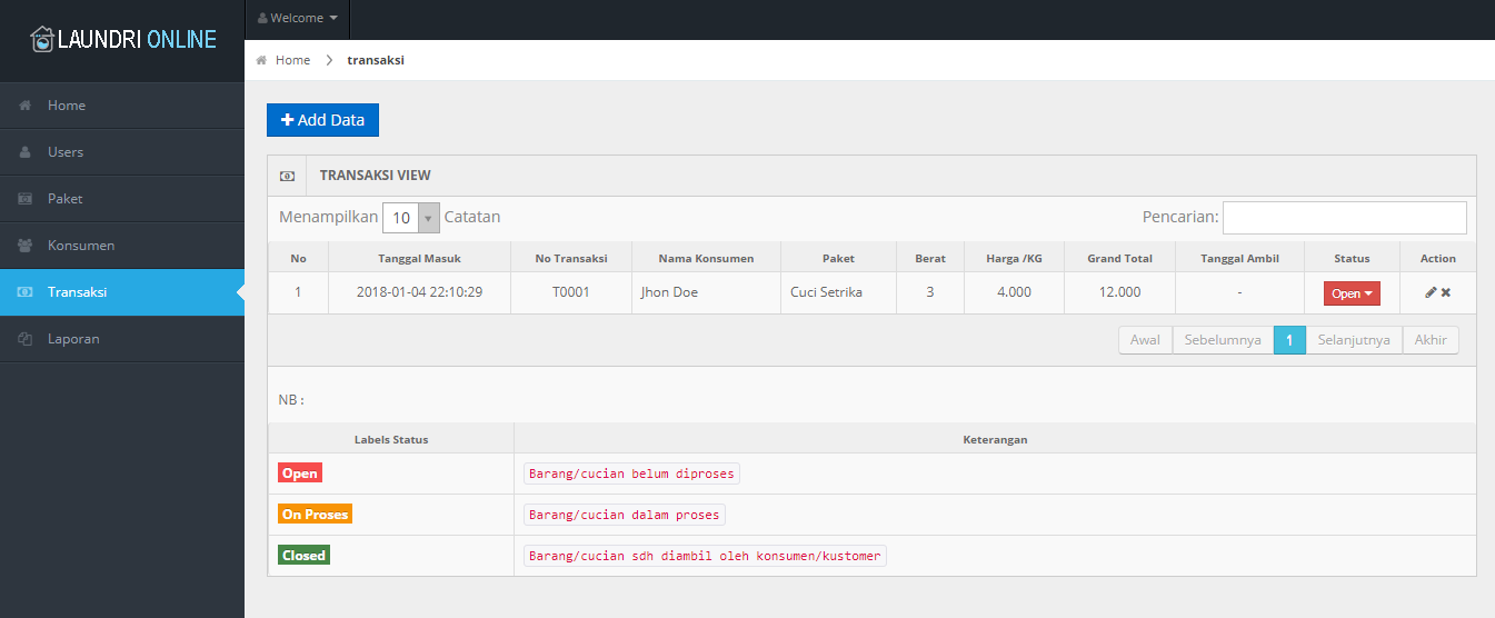 Aplikasi Laundri Online OOP PHP MYSQL
